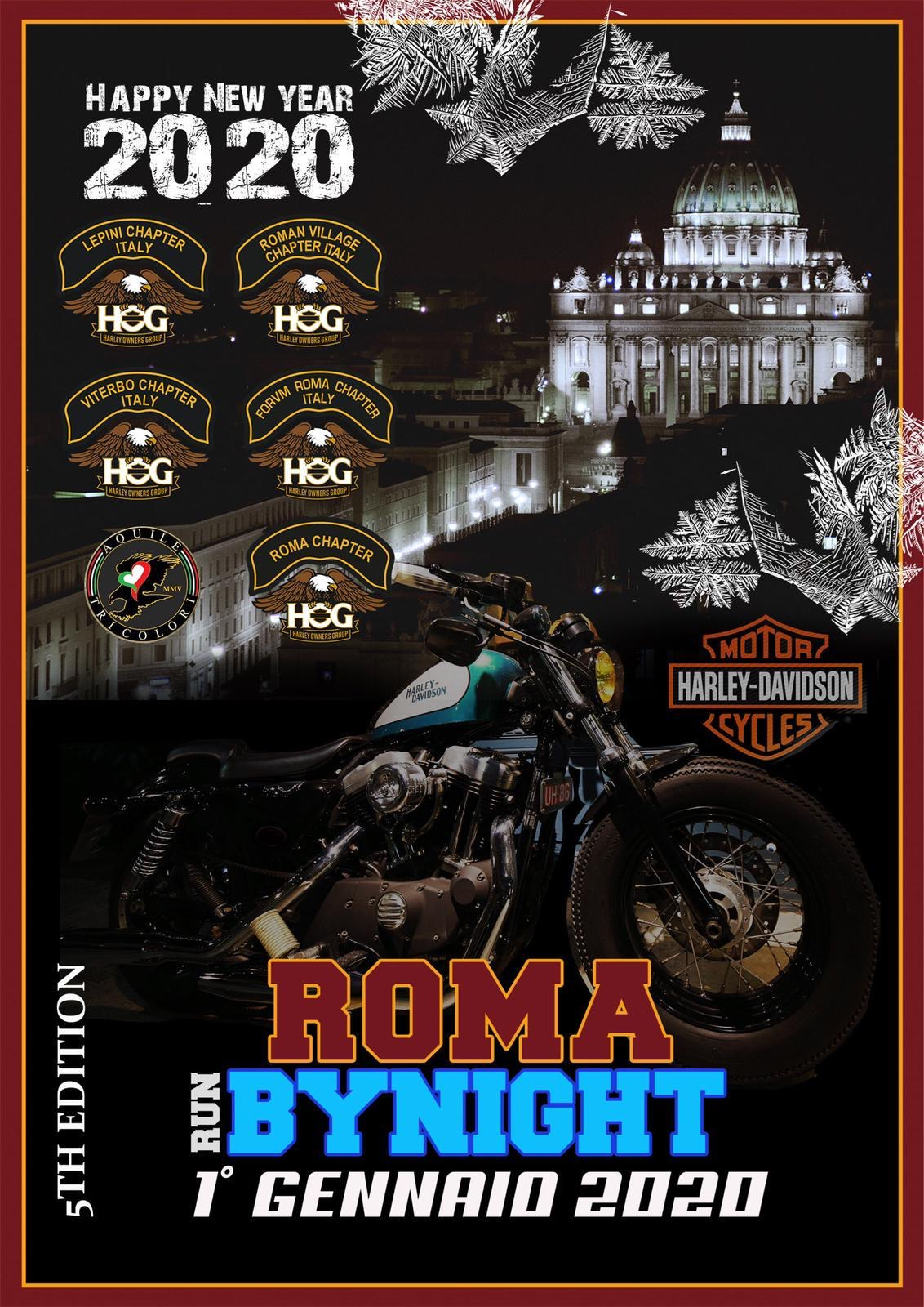 Run Roma by Night 5th Edition 1 Gennaio 2020 con Viterbo, Roma, Roman Village, Lepini, Forvm Roma Chapter e Aquile Tricolori.