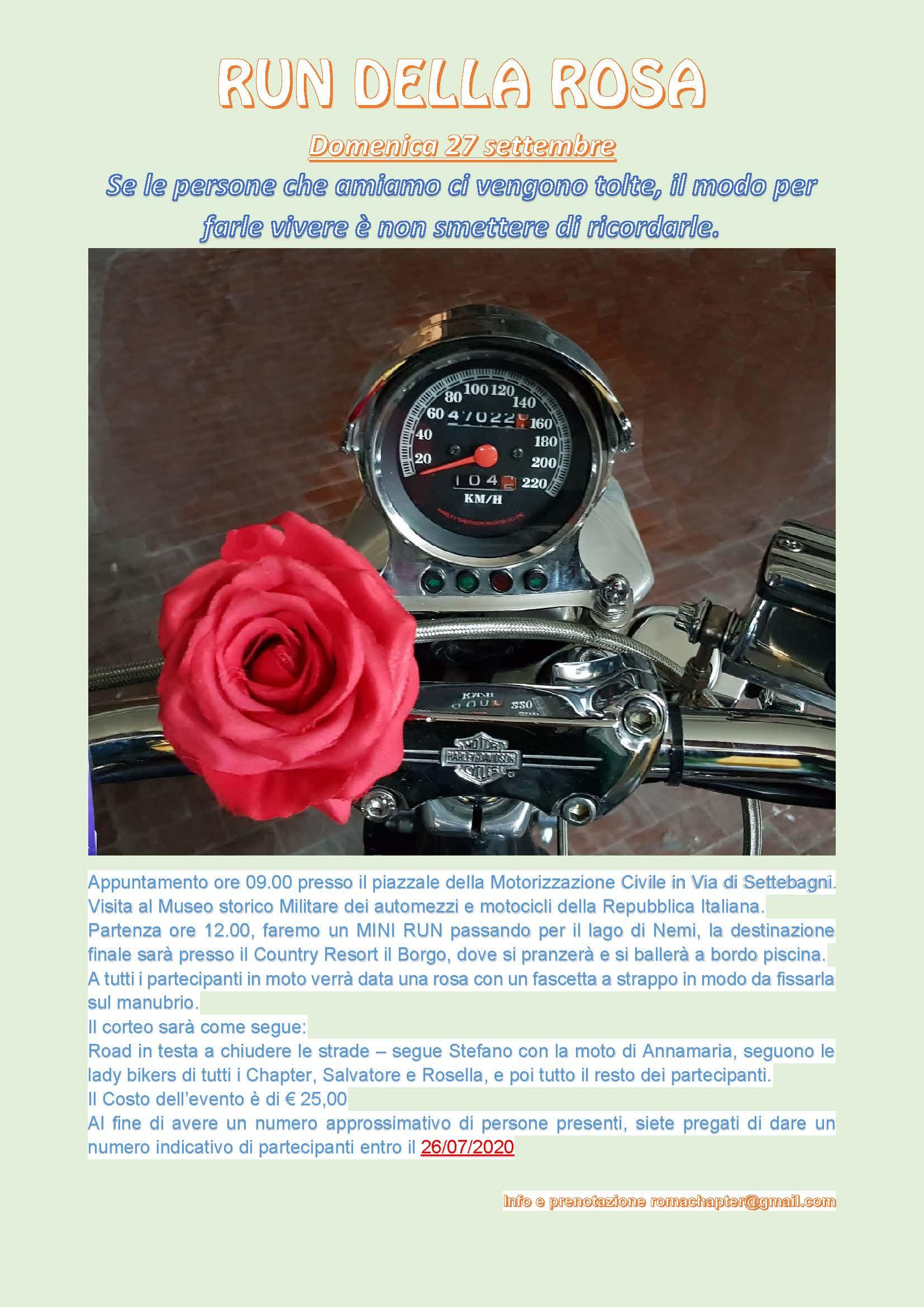 Run della Rosa: In ricordo di Annamaria, 27 settembre 2020